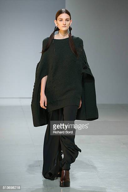 A model walks the runway during the Chalayan show as part of the Paris Fashion Week Womenswear Fall/Winter 2016/2017 on March 4 2016 in Paris France