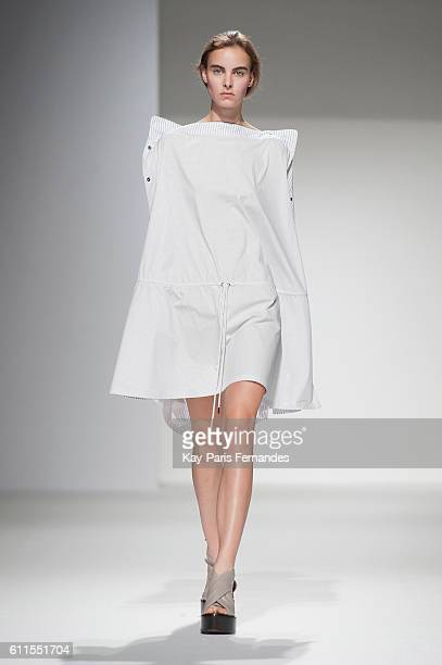 A model walks the runway during the Chalayan show as part of the Paris Fashion Week Womenswear Spring/Summer 2017 on September 30 2016 in Paris France