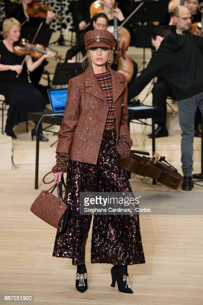 A model walks the runway during the Chanel Collection Metiers d'Art Paris Hamburg 2017/18 at the Elbphilharmonie on December 6 2017 in Hamburg Germany