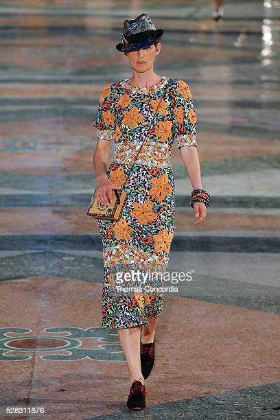 Model walks the runway during the Chanel Cruise Collection 2016/2017 on May 3, 2016 in Havana, Cuba.