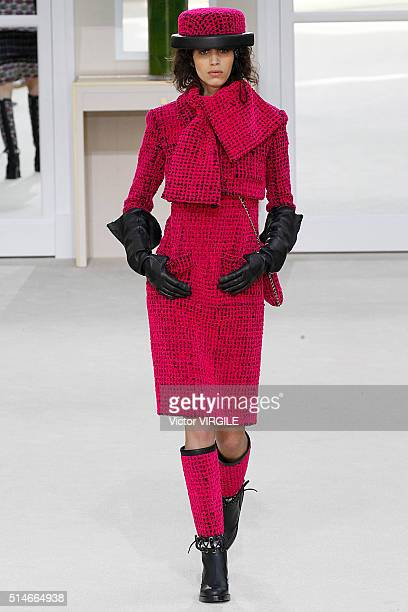 A model walks the runway during the Chanel fashion show as part of the Paris Fashion Week Womenswear Fall/Winter 2016/2017 on March 8 2016 in Paris...