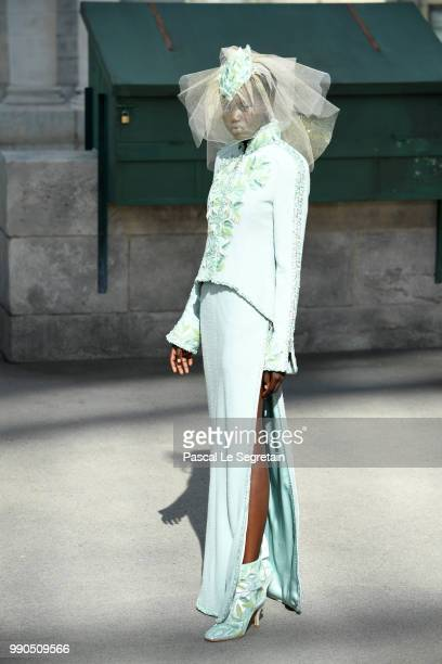 Model walks the runway during the Chanel Haute Couture Fall Winter 2018/2019 show as part of Paris Fashion Week on July 3, 2018 in Paris, France.