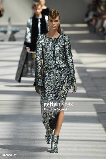 A model walks the runway during the Chanel Haute Couture Fall Winter 2018/2019 show as part of Paris Fashion Week on July 3 2018 in Paris France