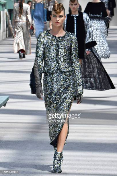 A model walks the runway during the Chanel Haute Couture Fall Winter 2018/2019 fashion show as part of Paris Fashion Week on July 3 2018 in Paris...