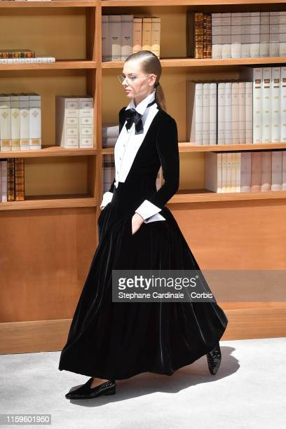 Model walks the runway during the Chanel Haute Couture Fall/Winter 2019 2020 show as part of Paris Fashion Week on July 02, 2019 in Paris, France.