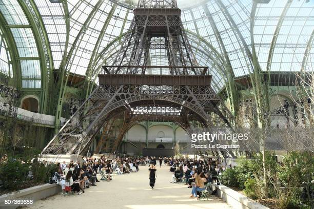 A model walks the runway during the Chanel Haute Couture Fall/Winter 20172018 show as part of Haute Couture Paris Fashion Week on July 4 2017 in...