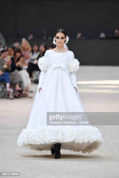 Model walks the runway during the Chanel Haute Couture Fall/Winter 2017-2018 show as part of Haute Couture Paris Fashion Week on July 4, 2017 in...
