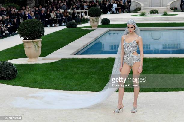A model walks the runway during the Chanel Haute Couture Spring Summer 2019 show as part of Paris Fashion Week on January 22 2019 in Paris France