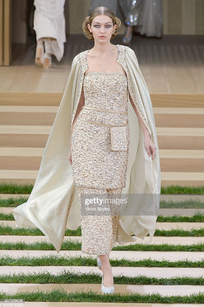 A model walks the runway during the Chanel Haute Couture Spring Summer 2016 show as part of Paris Fashion Week on January 26, 2016 in Paris, France.