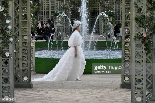 Model walks the runway during the Chanel Haute Couture Spring Summer 2018 show as part of Paris Fashion Week on January 23, 2018 in Paris, France.