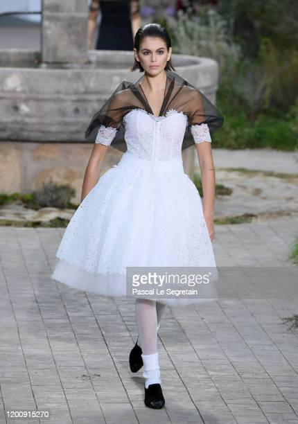 A model walks the runway during the Chanel Haute Couture Spring/Summer 2020 show as part of Paris Fashion Week on January 21 2020 in Paris France