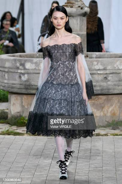 Model walks the runway during the Chanel Haute Couture Spring/Summer 2020 fashion show as part of Paris Fashion Week on January 21, 2020 in Paris,...
