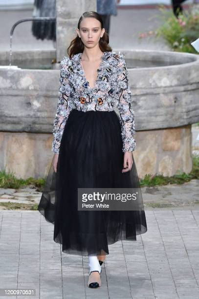 Model walks the runway during the Chanel Haute Couture Spring/Summer 2020 show as part of Paris Fashion Week on January 21, 2020 in Paris, France.