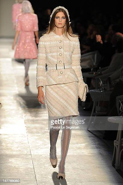 A model walks the runway during the Chanel HauteCouture show as part of Paris Fashion Week Fall / Winter 2012/13 at the Grand Palais on July 3 2012...