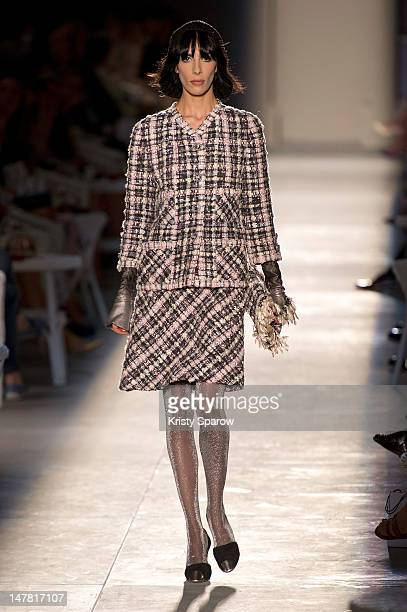 A model walks the runway during the Chanel HauteCouture show as part of Paris Fashion Week Fall / Winter 2012/13 at Grand Palais on July 3 2012 in...