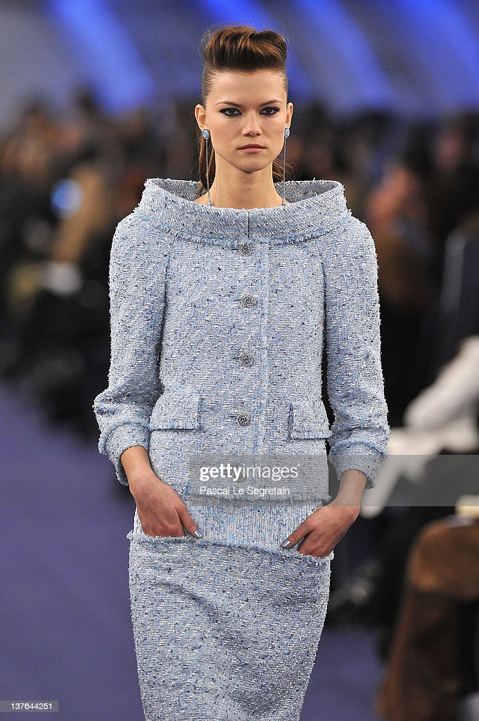 A model walks the runway during the Chanel Haute-Couture Spring / Summer 2012 Show as part of Paris Fashion Week at Grand Palais on January 24, 2012 in Paris, France.