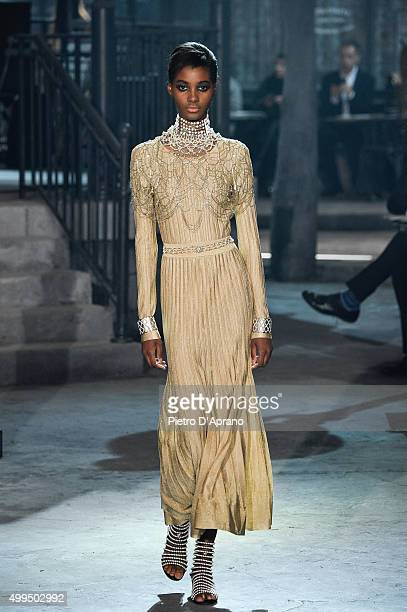 Model walks the runway during the Chanel Metiers d'Art 2015/16 Fashion Show at Cinecitta on December 1, 2015 in Rome, Italy.