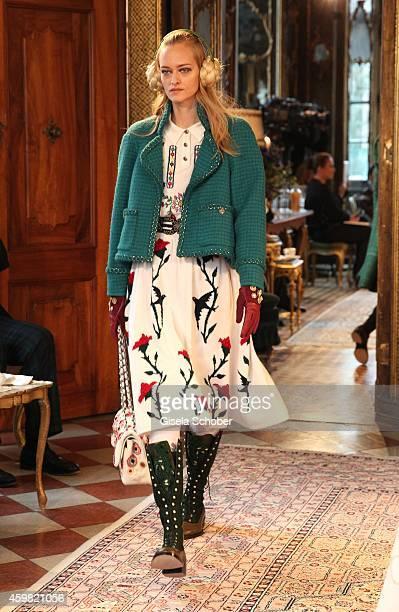 Model walks the runway during the Chanel Metiers d'Art Collection 2014/15 Paris-Salzburg on December 2, 2014 in Salzburg, Austria.