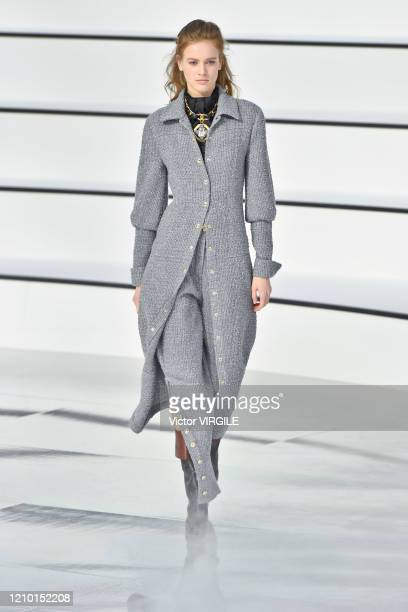Model walks the runway during the Chanel Ready to Wear fashion show as part of the Paris Fashion Week Womenswear Fall/Winter 2020-2021 on March 03,...