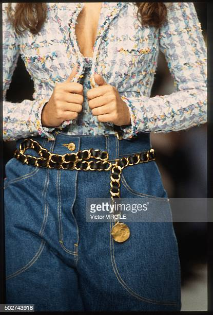 A model walks the runway during the Chanel Ready to Wear show as part of Paris Fashion Week Spring/Summer 19941995 in October 1994 in Paris France