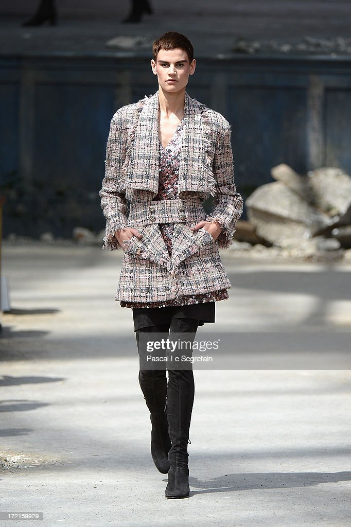 A model walks the runway during the Chanel show as part of Paris Fashion Week Haute-Couture Fall/Winter 2013-2014 at Grand Palais on July 2, 2013 in Paris, France.