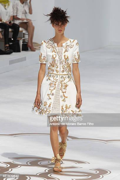 34a293c95dcf43 A model walks the runway during the Chanel show as part of Paris Fashion  Week Haute