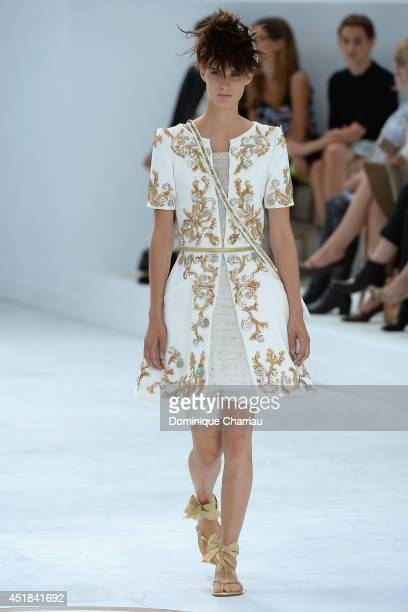 A model walks the runway during the Chanel show as part of Paris Fashion Week Haute Couture Fall/Winter 20142015 at on July 8 2014 in Paris France
