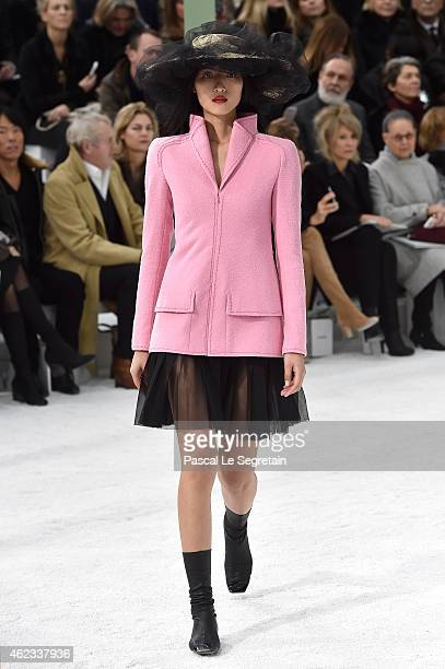 A model walks the runway during the Chanel show as part of Paris Fashion Week Haute Couture Spring/Summer 2015 on January 27 2015 in Paris France