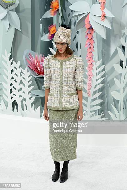 Model walks the runway during the Chanel show as part of Paris Fashion Week Haute Couture Spring/Summer 2015 on January 27, 2015 in Paris, France.