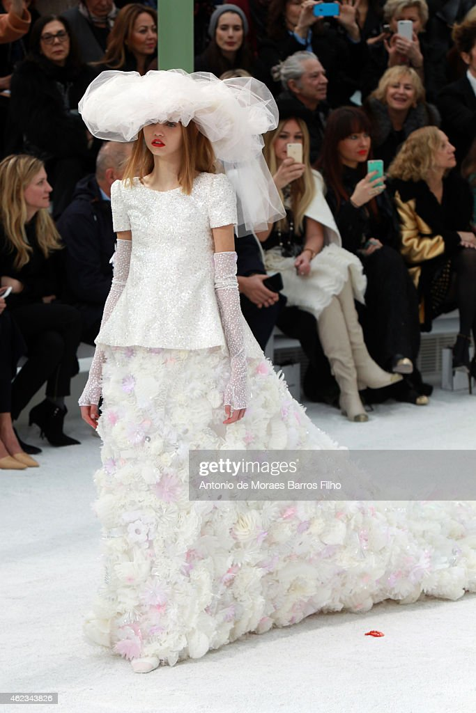 A model walks the runway during the Chanel show as part of Paris Fashion Week Haute Couture Spring/Summer 2015 on January 27, 2015 in Paris, France.
