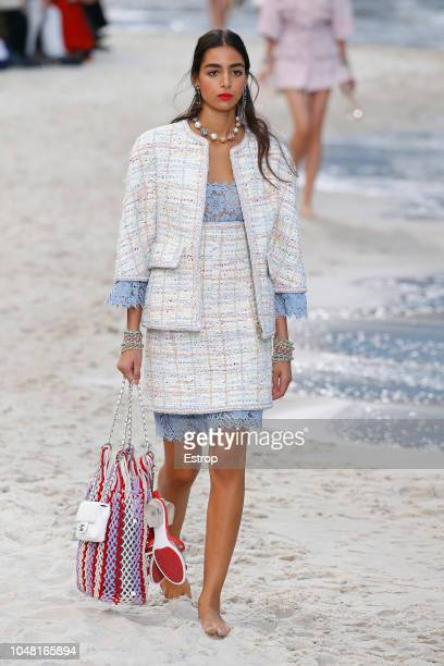 Model walks the runway during the Chanel show as part of the Paris Fashion Week Womenswear Spring/Summer 2019 on October 2, 2018 in Paris, France.