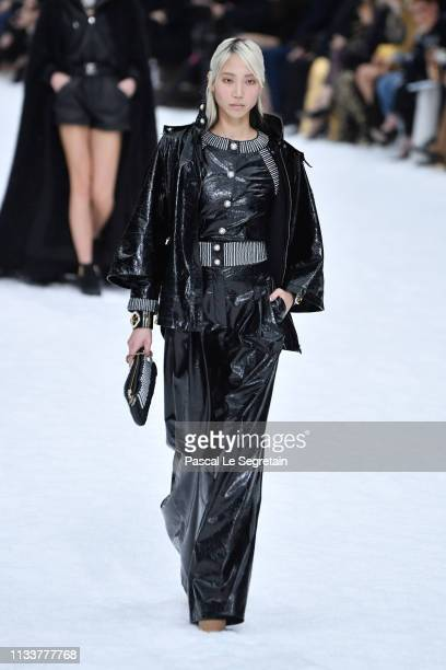A model walks the runway during the Chanel show as part of the Paris Fashion Week Womenswear Fall/Winter 2019/2020 on March 05 2019 in Paris France