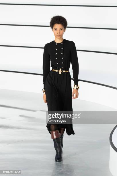 Model walks the runway during the Chanel show as part of the Paris Fashion Week Womenswear Fall/Winter 2020/2021 on March 3, 2020 in Paris, France.