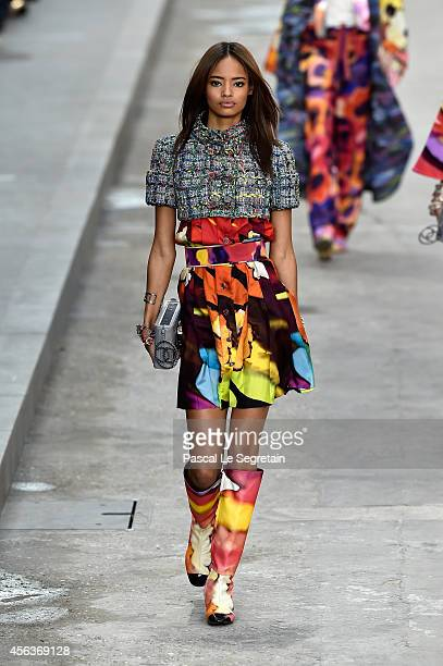 A model walks the runway during the Chanel show as part of the Paris Fashion Week Womenswear Spring/Summer 2015 on September 30 2014 in Paris France