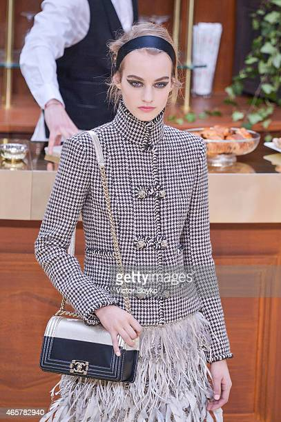 A model walks the runway during the Chanel show as part of the Paris Fashion Week Womenswear Fall/Winter 2015/2016 on March 10 2015 in Paris France