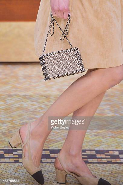 Model walks the runway during the Chanel show as part of the Paris Fashion Week Womenswear Fall/Winter 2015/2016 on March 10, 2015 in Paris, France.