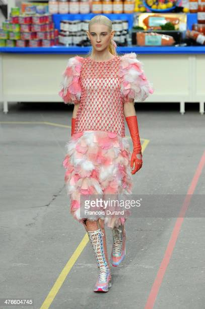 Model walks the runway during the Chanel show as part of the Paris Fashion Week Womenswear Fall/Winter 2014-2015 on March 4, 2014 in Paris, France.