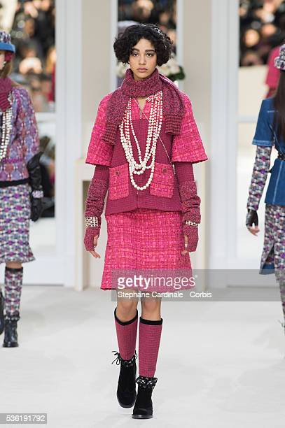 A model walks the runway during the Chanel show as part of the Paris Fashion Week Womenswear Fall/Winter 2016/2017 on March 8 2016 in Paris France
