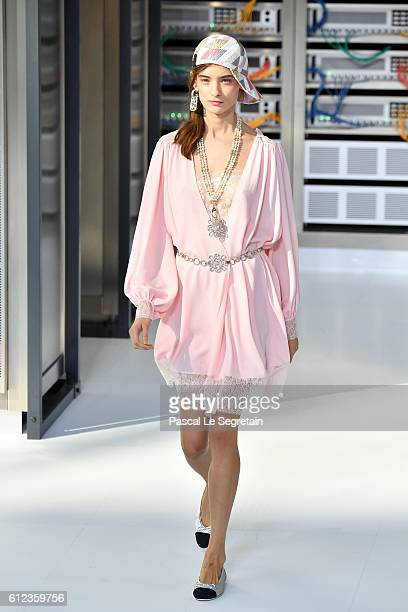 A model walks the runway during the Chanel show as part of the Paris Fashion Week Womenswear Spring/Summer 2017 on October 4 2016 in Paris France