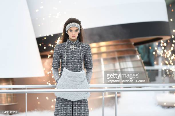 A model walks the runway during the Chanel show as part of the Paris Fashion Week Womenswear Fall/Winter 2017/2018 on March 7 2017 in Paris France