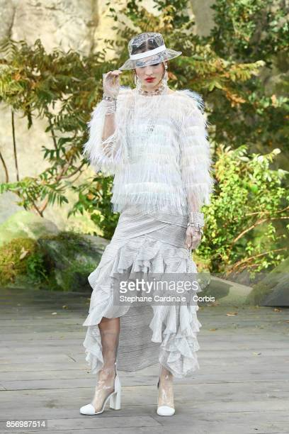 A model walks the runway during the Chanel Spring Summer 2018 show as part of Paris Fashion Week at on October 3 2017 in Paris France