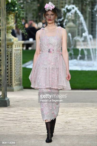 A model walks the runway during the Chanel Spring Summer 2018 show as part of Paris Fashion Week on January 23 2018 in Paris France