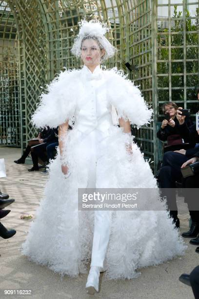 Model walks the runway during the Chanel Spring Summer 2018 show as part of Paris Fashion Week on January 23, 2018 in Paris, France.