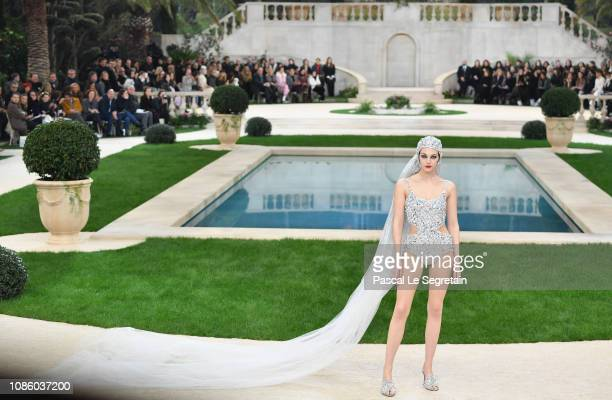 A model walks the runway during the Chanel Spring Summer 2019 show as part of Paris Fashion Week on January 22 2019 in Paris France