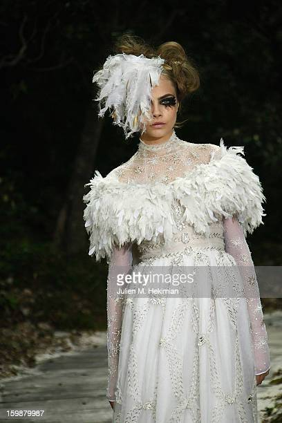 A model walks the runway during the Chanel Spring/Summer 2013 HauteCouture show as part of Paris Fashion Week at Grand Palais on January 22 2013 in...
