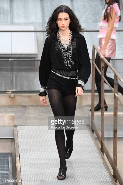 A model walks the runway during the Chanel Womenswear Spring/Summer 2020 show as part of Paris Fashion Week on October 01 2019 in Paris France