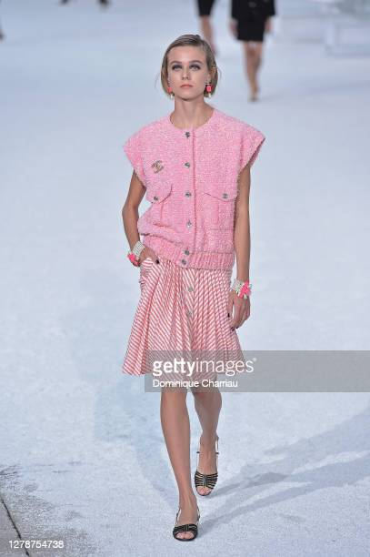 Model walks the runway during the Chanel Womenswear Spring/Summer 2021 show as part of Paris Fashion Week on October 06, 2020 in Paris, France.
