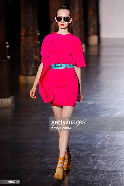 Model walks the runway during the Chapurin Ready to Wear Spring/Summer 2011 show during Paris Fashion Week at Couvent des Cordeliers on October 2,...