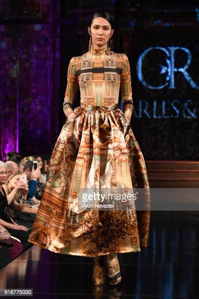 A model walks the runway during the Charles and Ron presentation at New York Fashion Week Powered by Art Hearts Fashion NYFW at The Angel Orensanz...