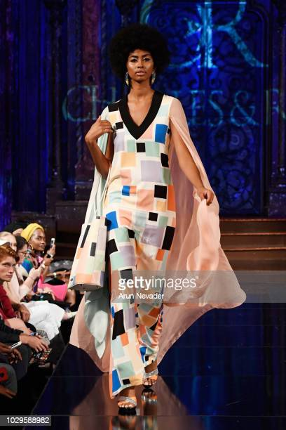 A model walks the runway during the CHARLES AND RON show at New York Fashion Week Powered By Art Hearts Fashion at The Angel Orensanz Foundation on...